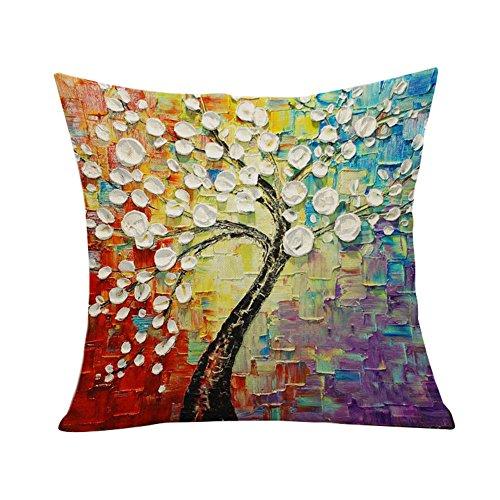 Lumanuby 1 x 4-Farbe Mischen Dekorative Kissen Fall Vintage Europäischen Malerei Stil Baum mit Weißen Blättern Kopfkissenbezug für Sofa Auto Hotel Café, Zierkissenbezüge Serie -