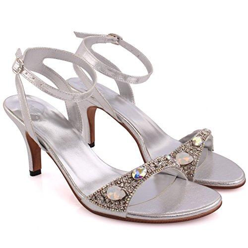 Unze Le nuove donne signore PRISMATICA scintillanti pietre Mid High Heel sera del partito di formato di promenade di nozze Slingback sandali scarpe UK 3-8 Argento