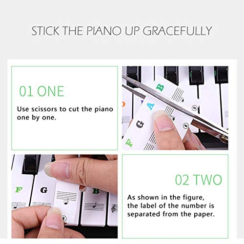 WEISY Piano-Aufkleber für 61/54/88 Key Keyboards-Transparent und abnehmbar mit Free Piano Ebook Colored for Kids