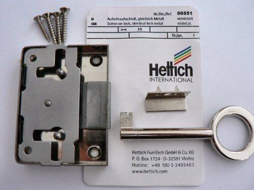 Hettich Aufschraubschloß gleichschließend vernickelt, Dornmaß: 25 mm, 1 Stück, Artikelnr. 551