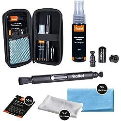 Set de Nettoyage pour Appareil Photo Rollei Pro | Cadeau pour Les photographes | Set de Nettoyage avec Lenspen, Chiffons en Microfibre, lingettes humides et nettoyant Liquide