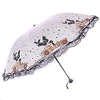 Sun Umbrella UV Parasol Small Lightweight Butterfly Lace Folding Umbrellas 210T Parasols Waterproof 8 Bones for Lady Women Umbrella in Summer