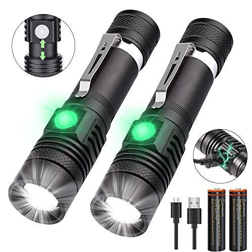 iToncs Torcia a LED ricaricabile, super luminosa, potente torcia tattica per campeggio, escursionismo, pesca, confezione da 2