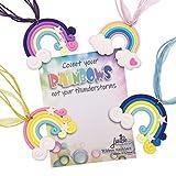 justBe Paquete de 12 Collares Arcoiris Articulos para Fiestas Detalles Regalitos para Niñas | Envoltorio Individual | Hecho a Mano