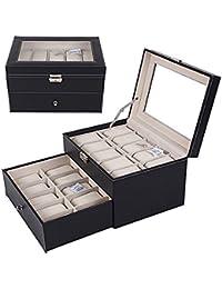 Asvert Caja para 20 de Relojes con Almohadillas Soporte con Tapa de Vidrio, Negro