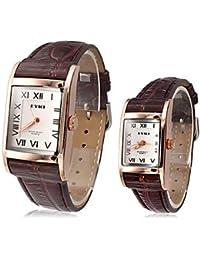Relojes Hermosos, Square EYKI de Pareja Classic cuero del dial banda de cuarzo reloj de pulsera analógico (colores surtidos) ( Color : Negro , Género : Para Mujer )