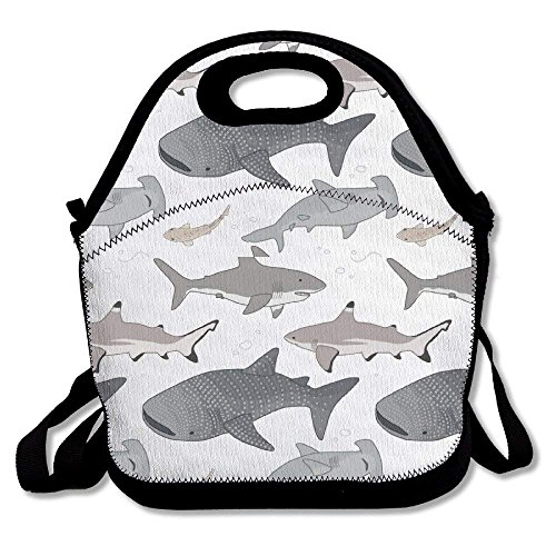 Sea Shark Pattern Ziplock Lunch Tote Bag Portable Handbag Lunch Box Waterproof Insulated Food Container for Boys&Girls School Picnic Office Travel Outdoor