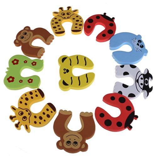 Demiawaking 10Stk/Set Kinder Sicherheit Cartoon Tür Karte Baby Türstopper Clip Sicherheit