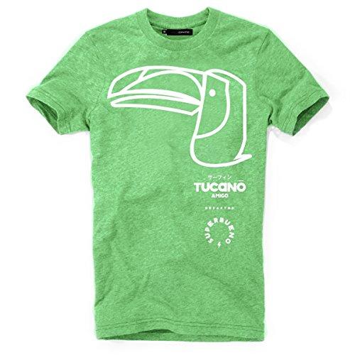 DEPARTED Herren T-Shirt mit Print/Motiv 3945-260 - New fit Größe L, Fresh Palm Green Triblend -
