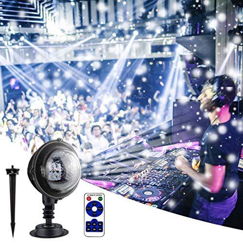 Rxyyos proiettore a led per esterni e feste, a forma di neve, girevole a 180°, impermeabile, con telecomando, per matrimoni, san valentino, bambini