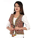Craft Trade Women's Cotton Hand Made Traditional Embroiderd Long Kutchi Jacket (JKT001LJ, Multicolour, Free Size)