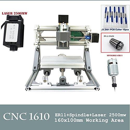 CNC 1610+ 2500mW Laser CNC Gravur Maschine PCB Fräsen Holz Router für Heimwerker Anfänger cnc1610 (Holz-laser-gravur-maschine)