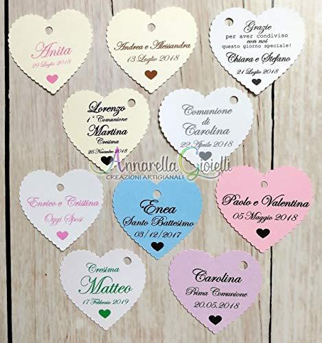 Cartellini per bomboniera personalizzati, 41x45mm, bomboniere, cuore, etichette, tag matrimonio, battesimo, comunione, cresima