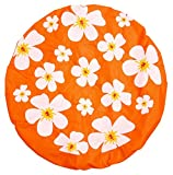 Duschhaube Orange Shower Cap Blumen-Motiv