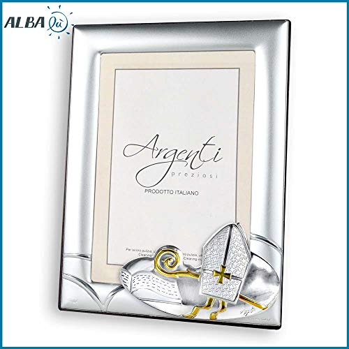 Albalù italia portafoto cresima argento laminato con oro retro legno misura interna 9x13 cm - esterna 13x17 cm