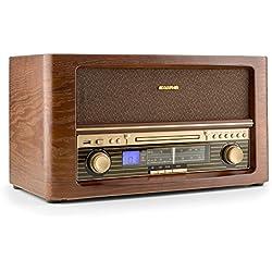 Auna Belle Epoque 1906 DAB Minicadena estéreo retro (reproductor de CD, MP3, AUX, USB, radio AM/FM DAB, diseño vintage, mando a distancia) - madera