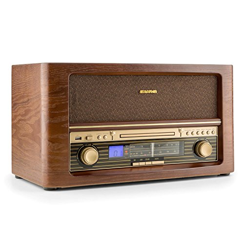 auna • Belle Epoque 1906 • Stereoanlage • Retroanlage • Radio-Tuner • UKW/MW • LCD-Display • Frequenzbandanzeige • CD-Player • MP3-fähig • USB Slot • Digitalisierungsfunktion • AUX • Fernbedienung • programmierbar • Vintage Design • Holz Gehäuse • braun