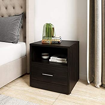 Amazon Brand - Solimo Aquilla Engineered Wood Bedside Table with Drawer (Wenge Finish)