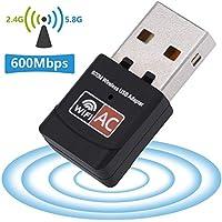 Nano WiFi Adaptateur USB, Usmain Récepteur Sans Fil 600Mbit/s Dual Bande, Mini Clé WLAN 802.11n/g/b/a/ac, USB Dongle Wi-Fi pour Windows XP/7/8/10, Mac OS et Linux