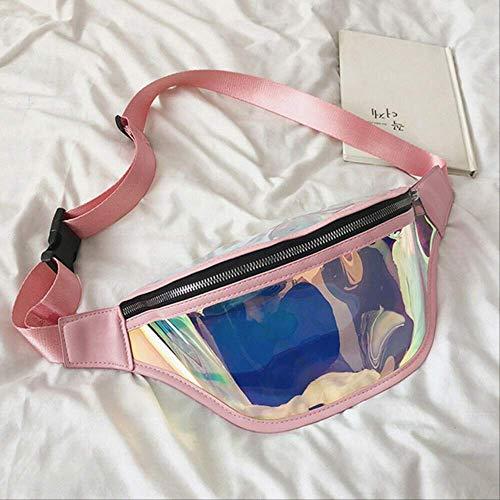 Mode Gürtel Bum Tasche Wasserdicht Transparent Klar Punk Holographische Fanny Pack Taille Pack Für Frauen rosa ()