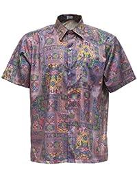 Camiseta para hombre de manga corta de seda tailandesa pájaro rosa, Rosa, XXL