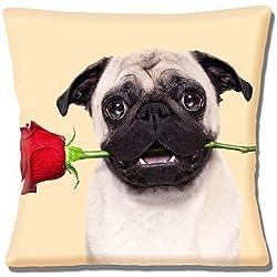 Fawn Pug con Rosa Roja Valentine Amor - 40.6cm (40cm) Funda De Cojín