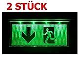 2 STÜCK Notleuchte Notbeleuchtung Exit Notausgang Fluchtwegleuchte Notlicht Fluchtweg mit Pfeil nach UNTEN