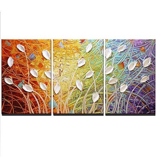 CNHK Ölgemälde, handgemalte Moderne abstrakte Kunst Leinwand Pfau Gemälde Wand Home Decor DREI Panels bereit zu hängen,30x50cmx3 - Hang-panels