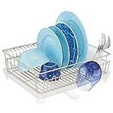 mDesign Abtropfgestell mit Abtropfschale – Abtropfablage für die Küchentheke oder Spüle – Geschirrabtropfer mit drehbarem Ausguss aus Metall und Kunststoff – mattsilberfarben und weiß