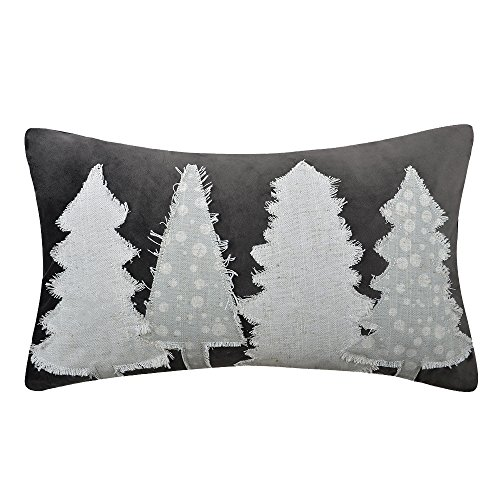 KXB handgefertigt Überwurf Bezüge Kissen CHRISTMAS TREES Deko Kissen Aufnäher pillowslips rechteckig Kissenbezügen Home Bett Sofa Room Decor 12x 20, Samt, dunkelgrau, 12 x 20 Inch -