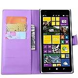 Tasche für Nokia Lumia 1520 Hülle, Ycloud PU Ledertasche Flip Cover Wallet Case Handyhülle mit Stand Function Credit Card Slots Bookstyle Purse Design lila