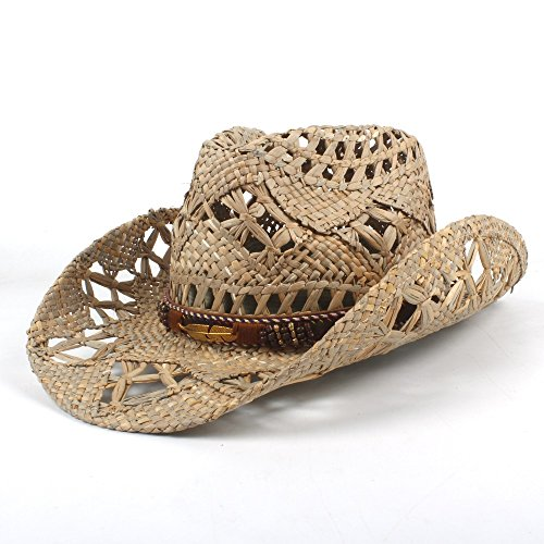 W.Z.H.H.H Mode Hut Mode Frauen Männer Western Cowboy Hut Roll-up Breiter Krempe Cowgirl Jazz Straw Hat Outdoor Mütze (Farbe : Schwarz, Größe : 56-58CM) (Cowboy Cowgirl Kostüm Paare)
