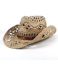 Gr Mode Frauen Männer Western Cowboy Hut Roll-up Breiter Krempe Cowgirl Jazz (Color : Black, Größe : 56-58CM)