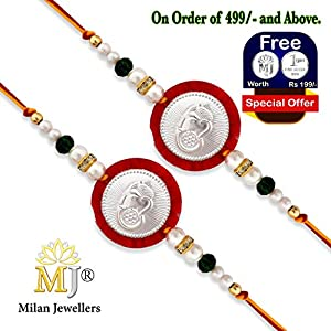 (0134) Milan Jewellers BIS HALLMARKED 99.5% Fine Silver Certified Ganesha Rakhi (Pack of 2) (Red)