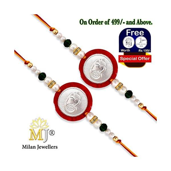 (0134) Milan Jewellers BIS HALLMARKED 99.5% Fine Silver Certified Ganesha Rakhi (Pack of 2) (Red)