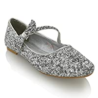 ESSEX GLAM Womens Flat Bridal Shoes Ballet Ladies Slip On Ballerina Dolly Bow Glitter Bridesmaid Pumps Size 3-9