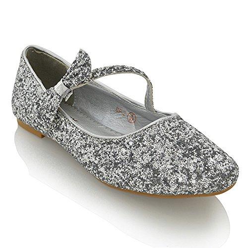 ESSEX GLAM Scarpa Donna Sintetico Ballerina Tacco Piatto Fiocco Glitter Matrimonio Argento Glitter