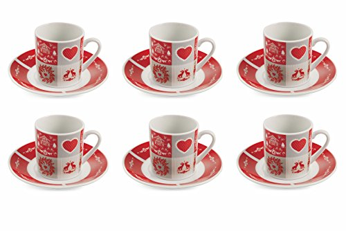 Cottage - Set 6 Tazzine con Piattino