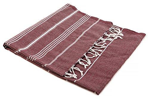 The emporium turkish-fouta in cotone 100% , telo da spiaggia asciugamano da bagno a pareo tradizionale-telo da hammam, colore: bordeaux