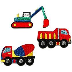 Toppe termoadesive - Set camion scavatrice bambini - rosso - dimensioni diverse - by catch-the-patch® Patch Toppa ricamate Applicazioni Ricamata da cucire adesive