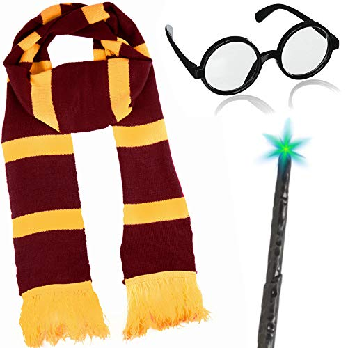 German Trendseller® - Zauberer - Kostüm - Set - Deluxe ┃ Wizard ┃ Schal + Magier Brille + Zauberstab ┃ 3 Teiliges Set