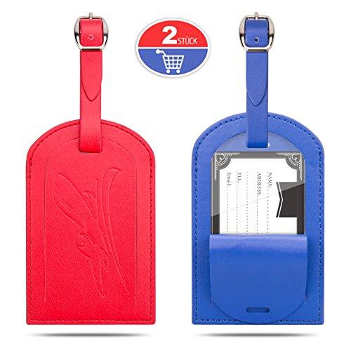 Kofferanhänger, Gvoo 1 Paar 2 Stück Reise Gepäckanhänger Taschenanhänger Luggage Tag Gegen Verloren aus Leder(Rot+Blau)