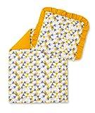 Amilian® Kinderwagenset Baby Bettwäsche Garnitur für Kinderwagen Mosaik Gelb/Senfgelb (2 tlg.)