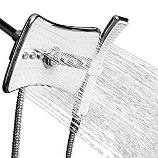 AKDY® 9 Rectangular Quad Function Rainfall Jet Shower Head & Wand Combo In Chrome by AKDY