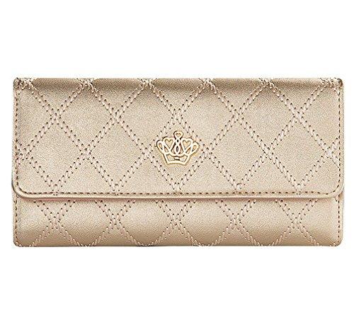 Kfnire Damen Elegant Stilvoll Portemonnaie Geldbörse Krone PU-Leder Geldbeutel (Gold) (Gold-abend-geldbeutel)