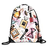 Drawstring Backpacks Bags Daypacks,Cosmetic and Makeup Theme Pattern with Perfume Lipstick Nail Polish Brush in Modern Style,5 Liter Capacity Adjustable for Sport Gym Traveling