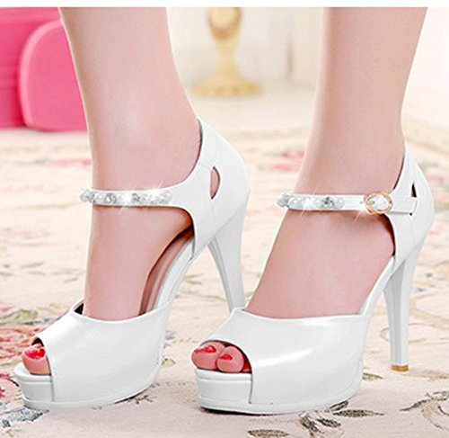 Aisun Femme Sexy Bout Ouvert Plateforme Strass Sandales Blanc