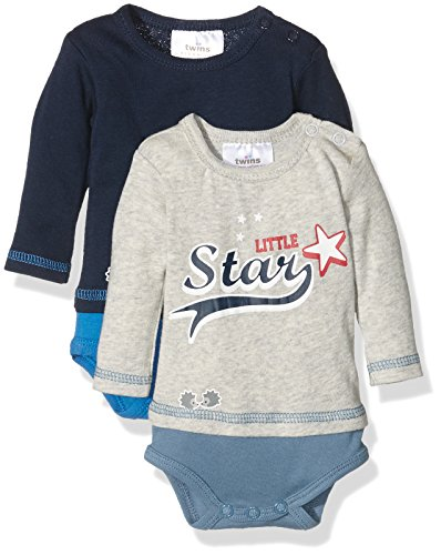 Twins Body Little Star Body Bebé Pack de 2 Azul (marine 3011) 3-4 meses (Talla del fabricante: 56)
