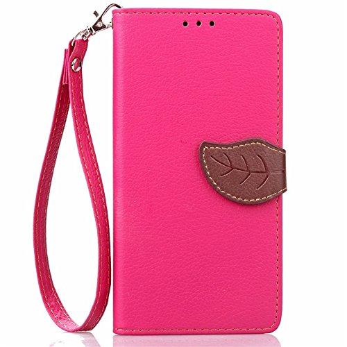YHUISEN Huawei Y600 Case, Natur Blatt Magnetverschluss Stil PU Leder Brieftasche Flip Case Cover für Huawei Ascend Y600 ( Color : Black ) Rose