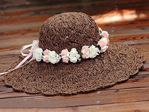 Chapeau de paille tissé à la main Ecran solaire Plage Vacances Loisir Sauvage Grand, brim, chapeau ( couleur : 4 ) 3